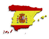 3d Spain flag map on white — Stock Photo
