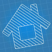 Blueprint House — Vector de stock