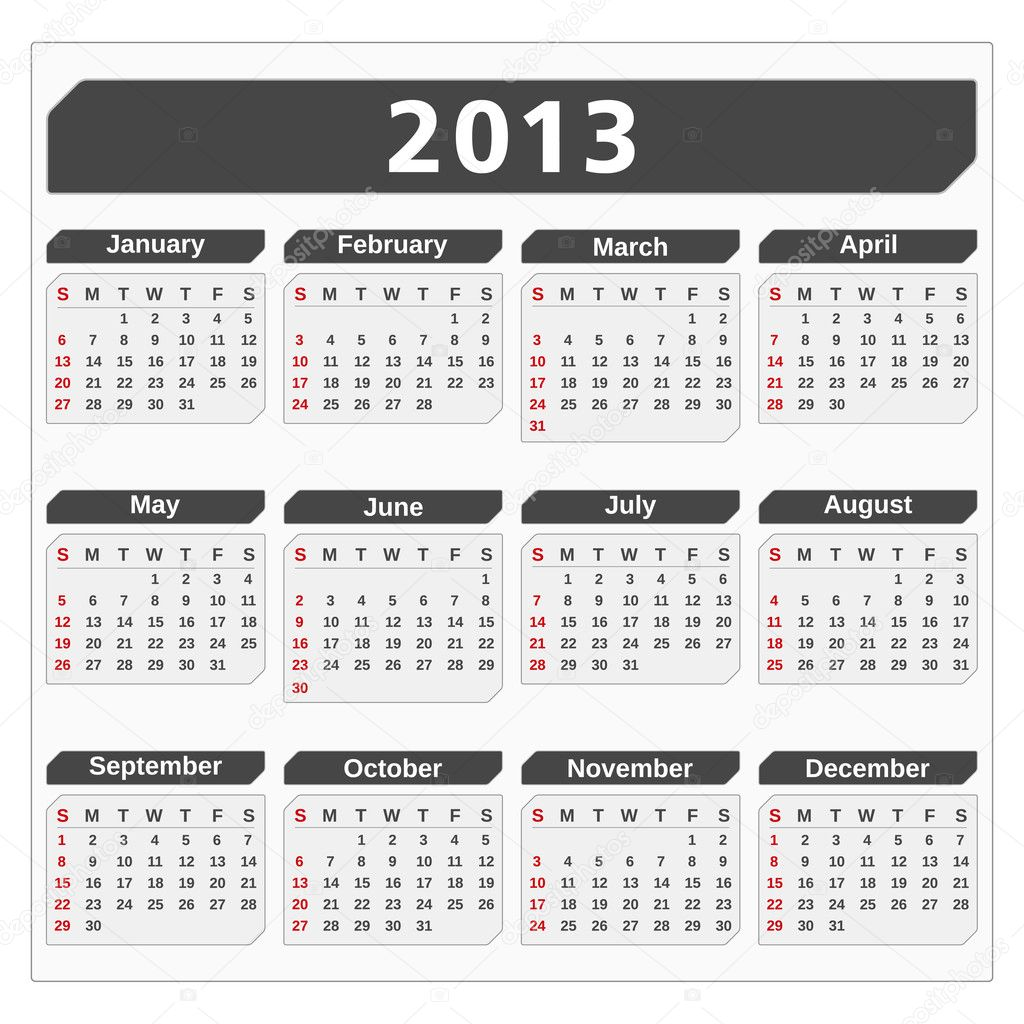 Calendar for 2013 year, vector eps10 illustration — Stock Vector #12355779