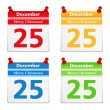 Stock Vector: Calendar Pages with 25 December