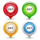 24x7 concetto — Vettoriale Stock