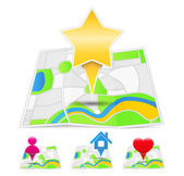 Maps with Map Pins — Stock Vector