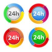 24 timmar ikoner — Stockvektor