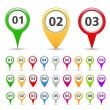 Map Markers with numbers — Stock Vector