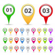Map Markers with numbers - Stock Vector