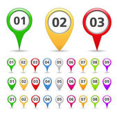 Map Markers with numbers — Stockvector