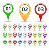 Marcadores de mapa com números — Vetorial Stock