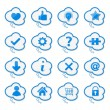 Speech Bubbles with Icons — Stock Vector