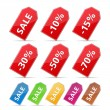 Price Tags with Discounts — Stock Vector