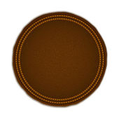 Round Leather Badge — Stock Vector