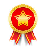 Golden Medal with Star — Vector de stock