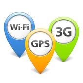 Wi-Fi, 3G and GPS Icons — Stock Vector