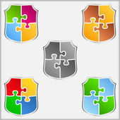 Puzzle Shields — Stock Vector