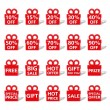 Red Banners shaped as Gift Box - Stock Vector