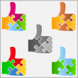 Puzzle thumbs up icon - Stock Vector