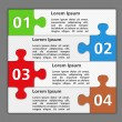 Design Template with Four Puzzle Pieces — Stock Vector
