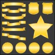 Royalty-Free Stock Vector Image: Golden Ribbons, Shields, Stars and Badges