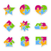 Puzzle ikony — Stock vektor