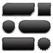 Botones negros — Vector de stock