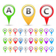 Map Markers with Symbols — Stock Vector