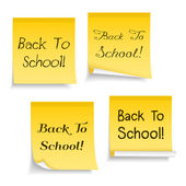 Yellow sticky notes with text Back To School — Stock Vector