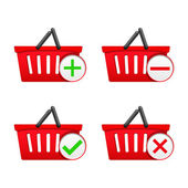Shopping Basket with Icons — Stock Vector