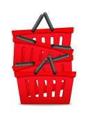 Red Shopping Baskets — Vettoriale Stock