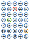 Transportation, Nautical and Travel Icons — Stock Vector