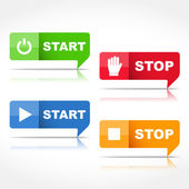 Start and Stop Buttons — Stock Vector