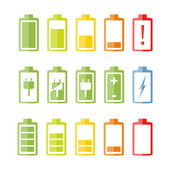 Flat Battery Icons Set — Stock Vector