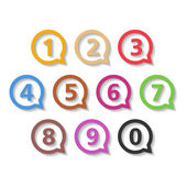 Colored Numbers in Round Speech Bubbles — Stock Vector