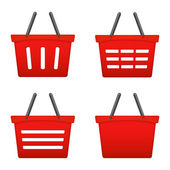 Red Shopping Basket Icons — Stock Vector