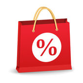 Shopping Bag with Percent Sign — Stock Vector