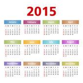 2015 Calendar — Stock Vector