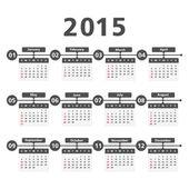 Calendario 2015 — Vettoriale Stock