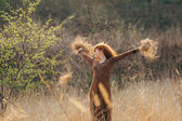 Young woman walking in golden dried grass field — Stock Photo