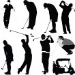 Stock Vector: Golf players and equipment silhouettes