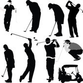 Golf players and equipment silhouettes — Stock Vector