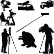Photographers silhouettes collection — Stock Vector