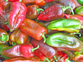 Red and Green Peppers on a Market — Fotografia Stock