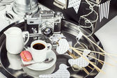 Breakfast photographer, vintage camera, espresso — Stock Photo