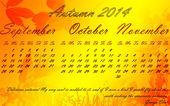 Kalender. hösten 2014. — Stockvektor