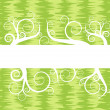 图库矢量图片: Green vintage background with floral scrolls vector