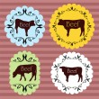 Beef and milk cattle farmers market food labels illustration col — Stock Vector