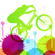 Mountain bike rider in wild mountain nature landscape background — Векторная иллюстрация