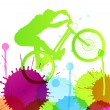 Mountain bike rider in wild mountain nature landscape background — Imagen vectorial
