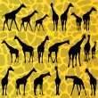 Giraffe detailed silhouettes background vector — Stock Vector