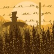 Royalty-Free Stock Vector Image: Scarecrow in corn field autumn countryside landscape illustratio