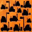 Royalty-Free Stock Vector Image: Warehouse truck cargo loaders machinery detailed editable silhou