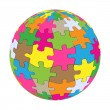 Colorful globe puzzle vector background - Stock Vector